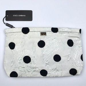 Dolce Gabbana Ivory Black Polka Dot Brocade Clutch